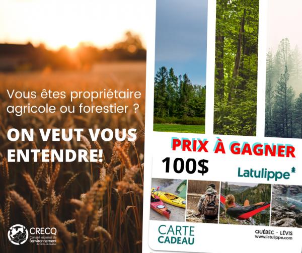 Propriétaires forestiers et agricole; On veut vous entendre !